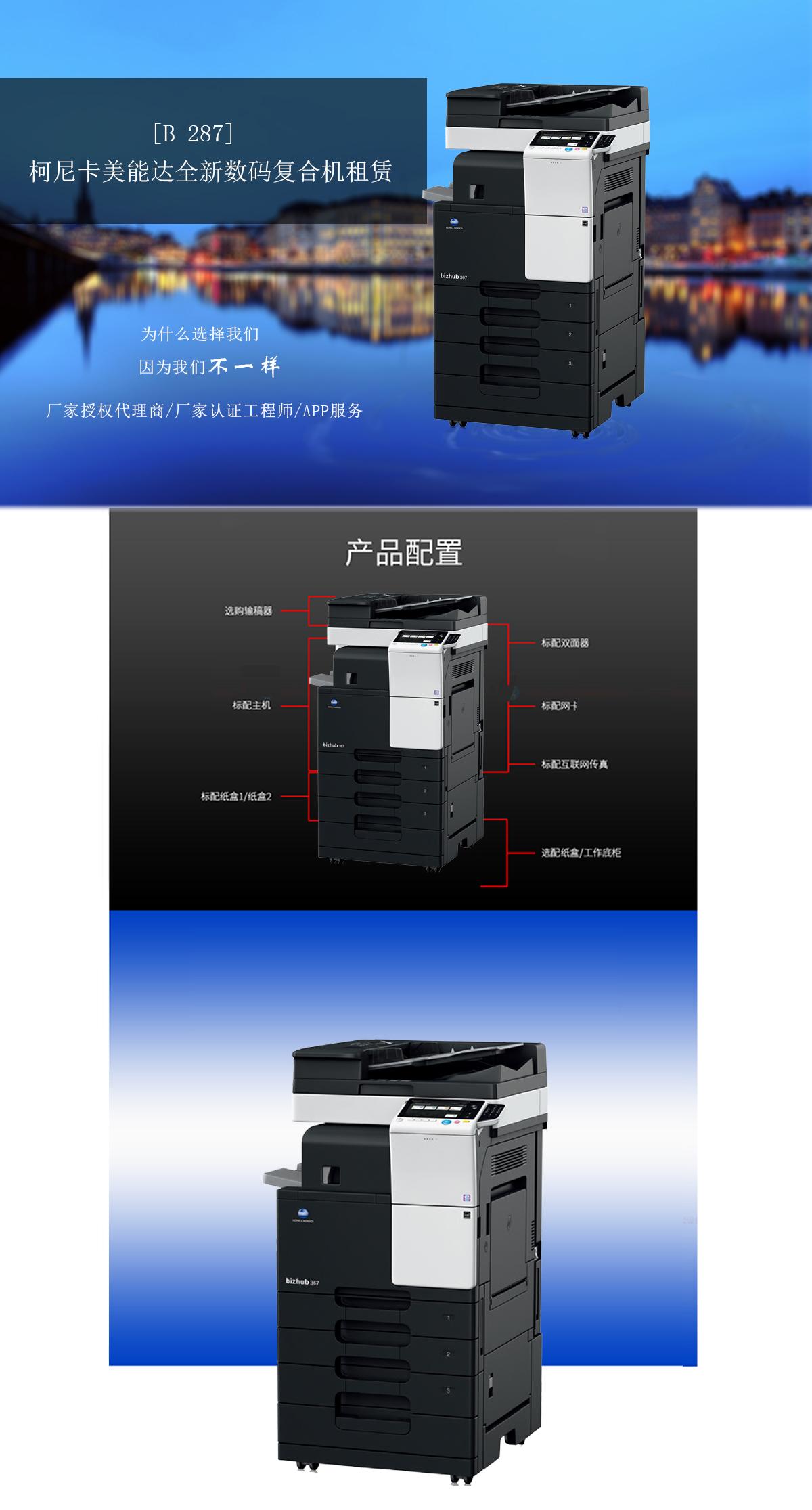 (全新机)B287 柯尼卡美能达复合机A3A4黑白激光网络打印扫描一体机(打印/复印/网络扫描)(图1)