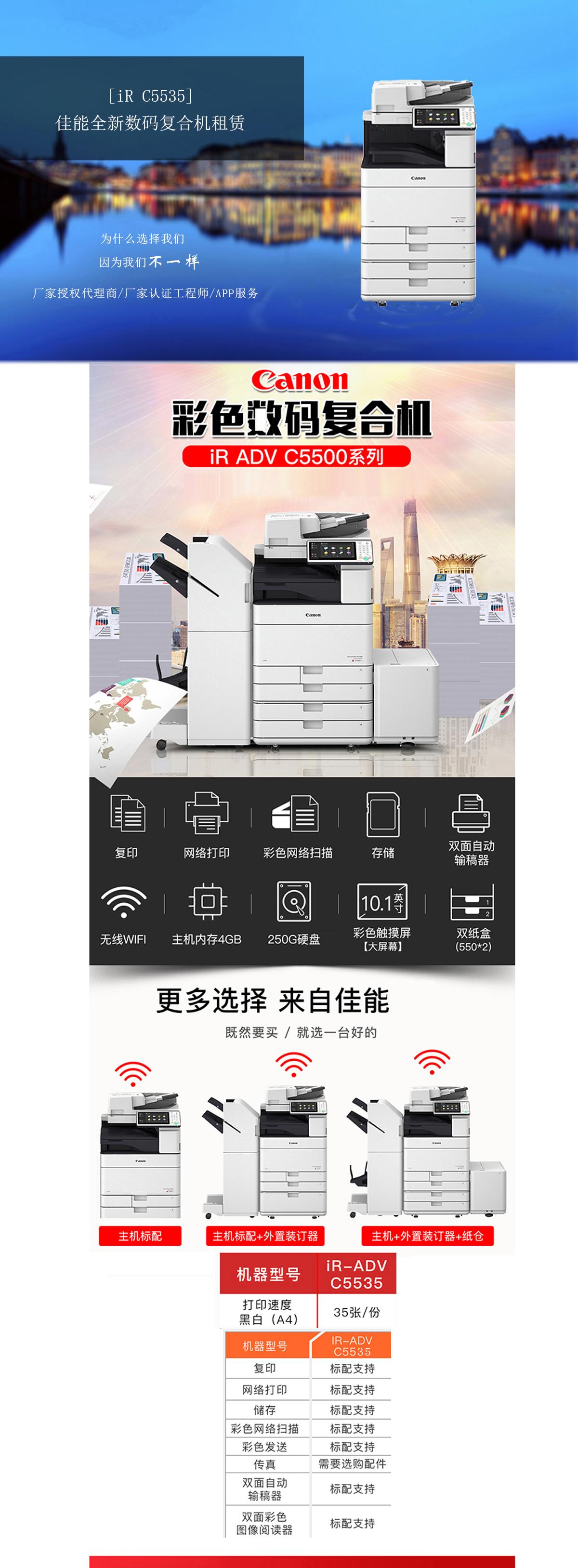 (全新机)IR-ADV C5535 佳能复合机A3A4彩色激光网络打印扫描一体机(打印/复印/网络扫描)(图1)